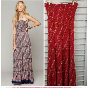 Free People Boho Strapless Coral Maxi Dress